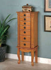 Oak Finish Jewelry Armoire Cabinet with Flip Top Mirror by Coaster 900135