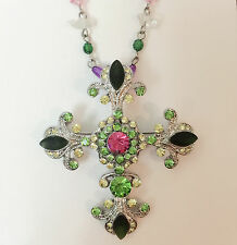 New Multi-Color Crystal Cross Charm Chain Pendant Brooch Beaded Necklace NE1234