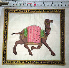 A Vintage attractive handmade SILK PAINTING of traditional Indian CAMEL (Left)