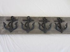 4 Cast Iron Anchor Dark Rustic Coat Hooks Nautical Boat Coat Hat Hook Fishing