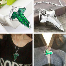 Beautiful Lord of The Rings Green Leaf Pin Brooch Pendant Wild Chain Necklace FT