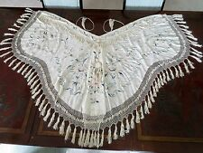 Museum Quality Antique Victorian Embroidered Silk Cape Shawl