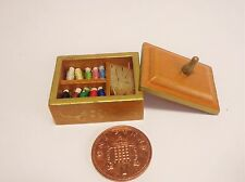 1:12 Scale Wooden  Sewing Box & Contents Dolls House Miniature Accessory