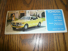 1972 1973 Toyota Models Specifications Accessories Dealer List Parts Depots