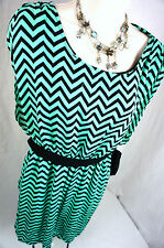 Ya Los Angeles Dress Size Large Chevron Mint Teal Belted Boutique Womens L New