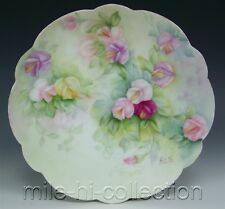 BEAUTIFUL LIMOGES HAND PAINTED SWEET PEA PLATE
