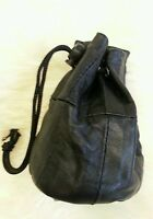 Leather Black Soft Leather Drawstring Wrist Pouch Coin Purse Change Handy lined.