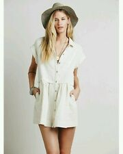 New Free People New Moon Babydoll Mini Dress Button Down Tunic BEIGE, MEDIUM