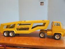Vintage PRESSED STEEL Mighty Tonka Toys CAR CARRIER TRANSPORTER Truck YELLOW