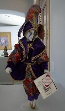 "Collectors Choice Porcelain Jester Doll 16"" New Old Stock Clown VTG 2000 Purple"