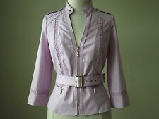 NWT White house black market belted twill 3/4 sleeve lilac pink jacket size 12