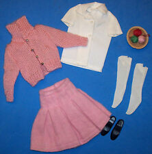 Vintage SKIPPER SCHOOL DAYS #1907 Pink Complete Outfit Knit Sweater & Yarn