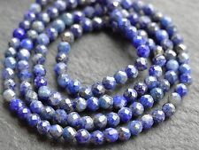 "2.2mm MICRO FACETED LAPIS ROUNDS, 12.5"", 150 beads"