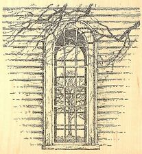 TREE REFLECTION IN WINDOW Wood Mounted Rubber Stamp IMPRESSION OBSESSION F2517