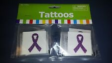 "Cancer Awareness 12  Purple Ribbon Glitter Tattoo stickers 1 1/2"" Relay for Life"