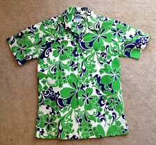 Vintage 1960s 1970s HAWAII Aloha Shirt Sz Small PSYCHEDELIC Green, Navy & White!