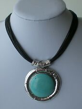 Antiqued Silver & Turquoise Abstract Pendant Statement Necklace Multi Black Cord