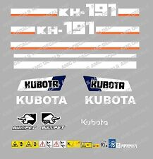 KUBOTA KH191 MINI DIGGER COMPLETE DECAL SET WITH SAFETY WARNING SIGNS
