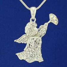 """W Swarovski Crystal Angel Cupid Playing a Trumpet New Pendant Necklace 18"""" Chain"""