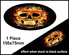 Oval FADE TO BLACK Flaming Gothic Skull Fire vinyl car truck sticker Decal 150mm
