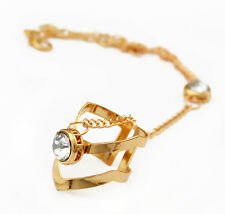 Fashion Gold Crystal Bracelet Bangle Chain Link Finger Ring Hand Harness