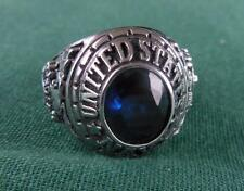 STERLING SILVER UNITED STATES MILITARY SERVICE USN NAVY U.S.N BLUE RING SZ 10
