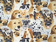 EXCLUSIVELY QUILTER'S MAN'S BEST FRIEND ASSORTED BREEDS DOGS COTTON FABRIC 1 YD