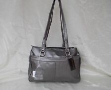 New Women's Ohh Ashley Lambskin Leather Large Triple Compartment Handbag Pewter