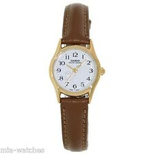 Casio LTP1094Q-7B8 Ladies Casual Analog Watch Leather Band Gold Case w/ CAT DIAL