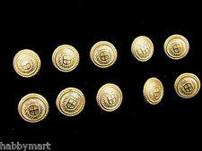 10 x 15mm Gold Coloured Metal Blazer Shield Buttons with Crown and Laurel Wreath