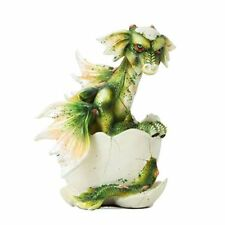 Adorable Green Wing Dragon Egg Baby Hatching Figurine Statue