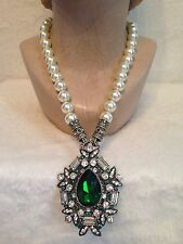 HEIDI DAUS Large EMERALD GREEN Stone Pin Brooch Necklace -CONVERTABLE