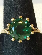 VINTAGE 14K YELLOW GOLD SIMULATED EMERALD LADIES RING  SIZE 6.5