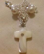 "Pearl Shell Cross&925 Water Pearl Stud Earings/Sterling Silver 18"" Chain /boxed."