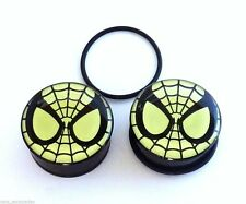 PAIR-Spiderman DC Comics Glow Acrylic Single Flare Plugs 08mm/0 Gauge Body Jewel
