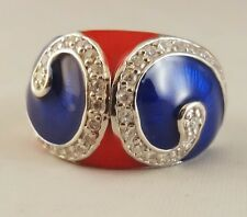 P 1/2 Ring   [ 925 Sterling Silver & Clear Cubic Zircon ] Red and  Blue