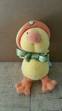princess soft toys yellow orange chenille knit duck  jesus loves me ribbon hat