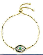 "QVC Diamonique cz Sterling Silver/Y Gold clad ""Evil Eye"" Friendship Bracelet"