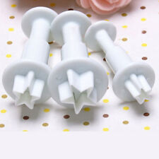 3 Pcs Mini Star Fondant Plunger Cutter Biscuit Cookies Cake Decorating Mold Tool