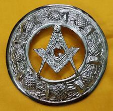 """TE Mens Kilt Fly Plaid Brooch Masonic Chrome Finish 3""""/Masonic Fly Plaid Brooch"""