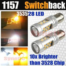 2x 1157 Dual Color Switchback 3535 990LM White/Amber LED Turn Signal Light Bulbs