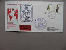 PERU, cover spec. flight 1974, Lima-Frankfurt. stamps ao orchid, canc ao Do-X