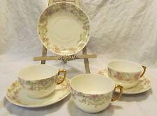 L Bernardaud D&C Limoges France 3 Sets Antique Porcelain Cups & Saucers