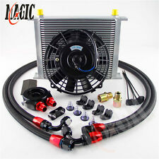 "30 Row Universal engine Transmission 8AN Oil Cooler KIT+ BK 7"" Electric Fan Kit"