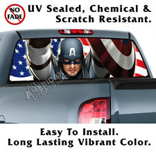 Captain America BACK Window Graphic Perforated Film Decal Tint Truck SUV