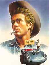 JAMES DEAN  WITH  HIS DEADLY PORSCHE  POSTER- R.  CASARO  UNIQUE  -ONLY  $6.99