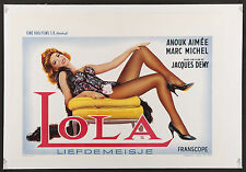 "LOLA 1961 Beautiful Belgian 14""x22"" poster on linen Jacques Demy Anouk Aimee"