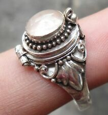 RP179-925 Sterling Silver Balinese Poison/Locket Ring With Rose Quartz Size 8