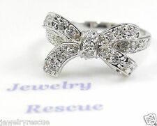 Delicate Cubic Zirconia CZ Bow Ring .925 Sterling Silver Size 9 NEW