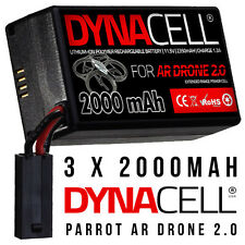 3 x DYNACELL 2000MaH Spare Upgrade Replacement Battery for Parrot AR Drone 2.0